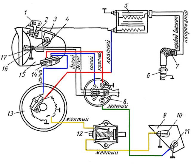 мотоцикл восход схема коммутатора
